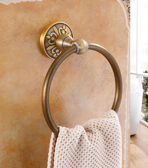Антиквариат золото полотенце кольца стена навесное полотенце держатель твердое тело латунь конструкция антиквариат отделка ванная аксессуары