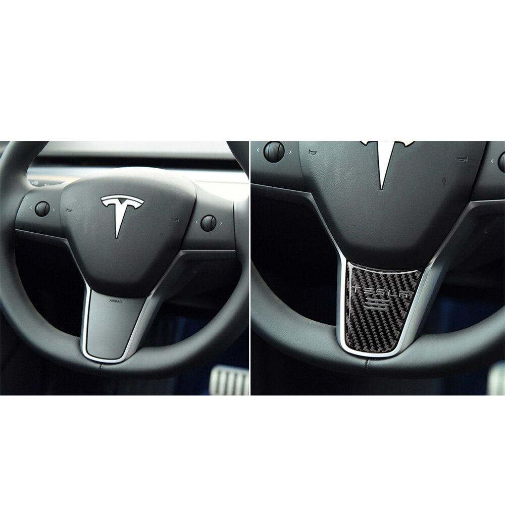 Купить с кэшбэком Carbon Fiber Decoration Exterior Door Handle Steering Wheel Window Adjustment Switch Center Console Sticker for Tesla Model 3
