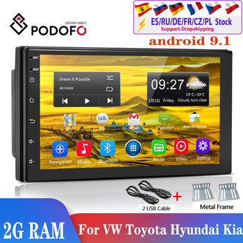 Podofo 2din car radio Android 9.1 Car Multimedia Player 2din autoradio For Volkswagen Nissan Hyundai Kia toyota Seat Ford Focus image
