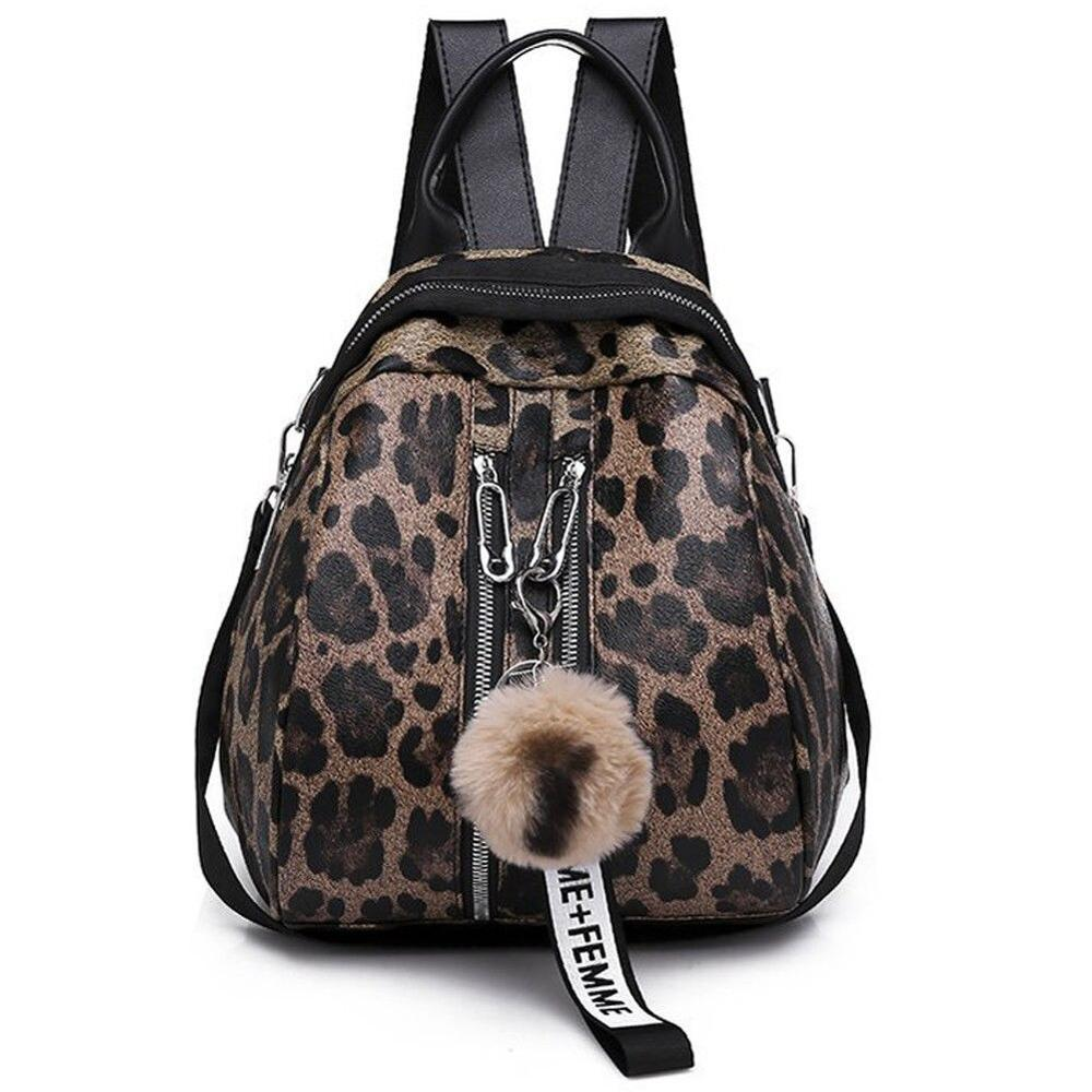 Personality Leopard Print PU Leather Waterproof College Wind Shoulder Bag New Women's Fashion Backpack