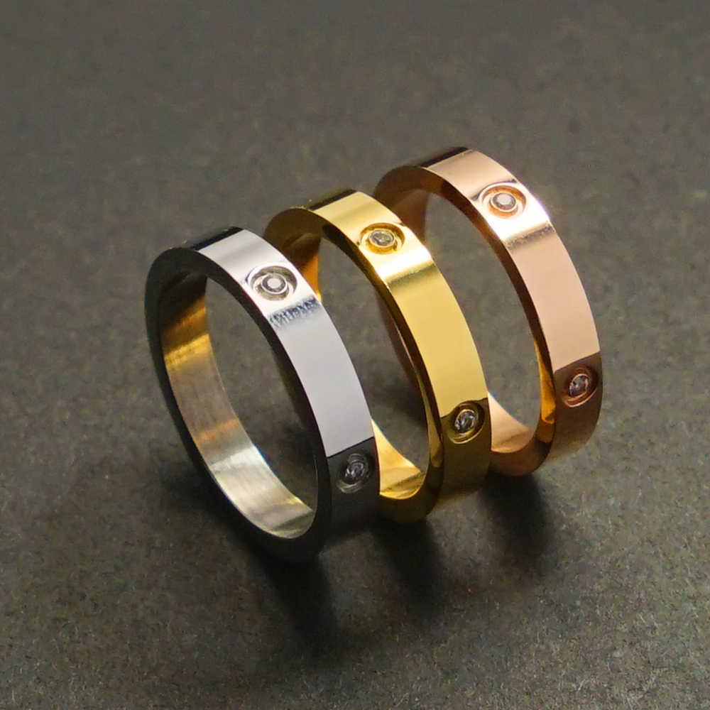 2019 แฟชั่นอินเทรนด์คู่แหวน Fit ผู้หญิงคนรักหรูหราแหวนคริสตัลสแตนเลสวันวาเลนไทน์แต่งงานเครื่องประดับที่ดีที่สุดของขวัญ
