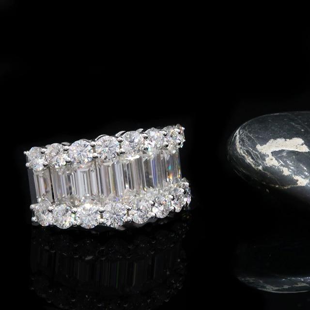 Luxury Solid 14K  Moissanite Diamond  Round Cut Half Eternity Wedding Band 2