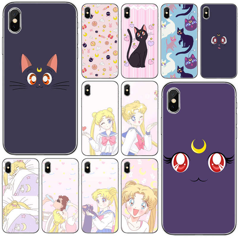 Sailor Moon Luna Cat Pattern Cover Soft Silicone TPU Phone Case For iPhone 5 5S SE 6 6plus 7 8 plus X XS XR XS Max 11