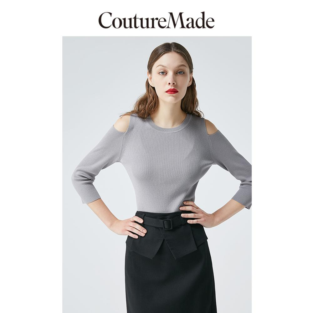 Vero Moda CoutureMade Women's Mulberry Silk Off-the-shoulder 3/4 Sleeves Slim Fit Thin Knit   319224502