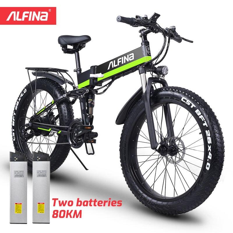 Новинка 2020, складной Электрический горный велосипед ALFINA 1000 Вт, Электрический Снежный велосипед, электровелосипед, электровелосипед 48 В, шин...