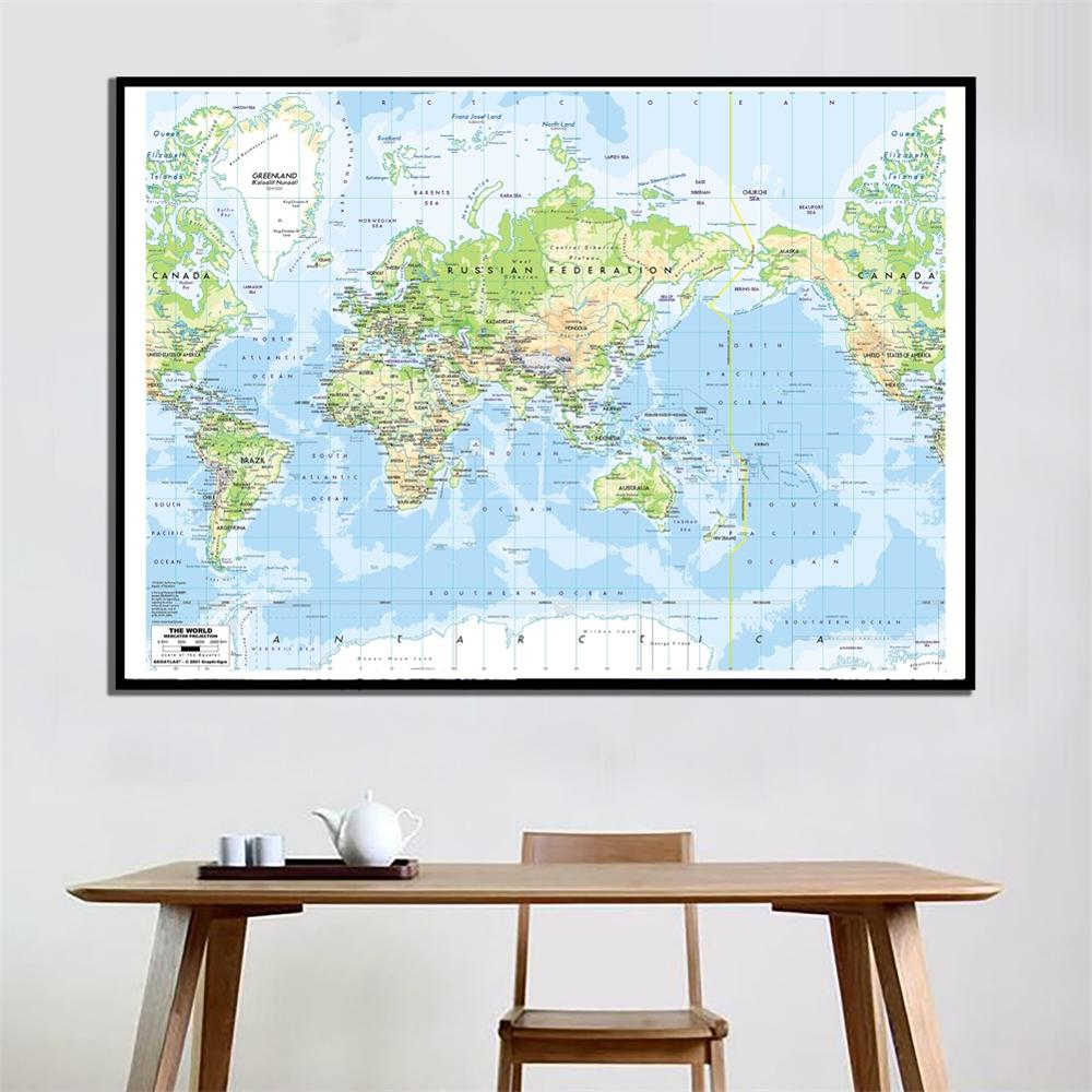 24x36 Inch The World Mercator Procjection 2001 Version World HD Map For School Office Wall Decor And Study Education