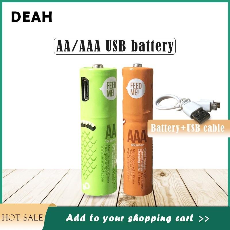 1PC DEAH 2020 AA/AAA nowy USB akumulator Ni-MH baterii 1.2V z mikro kabel do ładowania USB do zdalnie sterowana mysz e-urządzenia