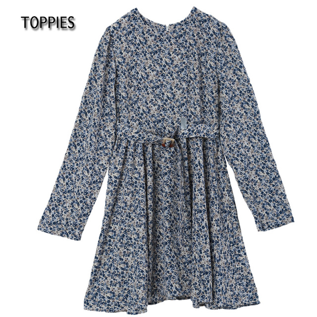 Toppies 2021 Mini Dress Print O Neck Long Sleeve Belt Sweet Crushed Floral Dress Casual Women Colorful Holiday Dress 6