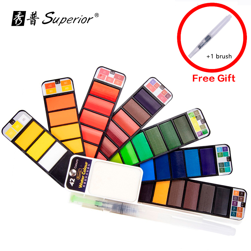 Superior 18/25/33/42Color Solid Watercolor Set Collapsible Water Color Paint Water Brush Pigment For Drawing Dropshipping