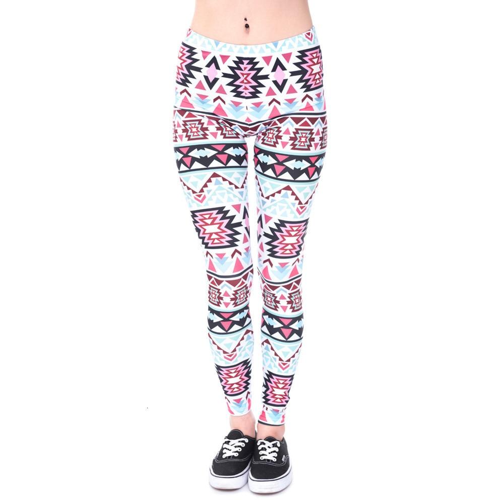 Brands Women Fashion Legging Aztec Round Ombre Printing leggins Slim High Waist  Leggings Woman Pants 52