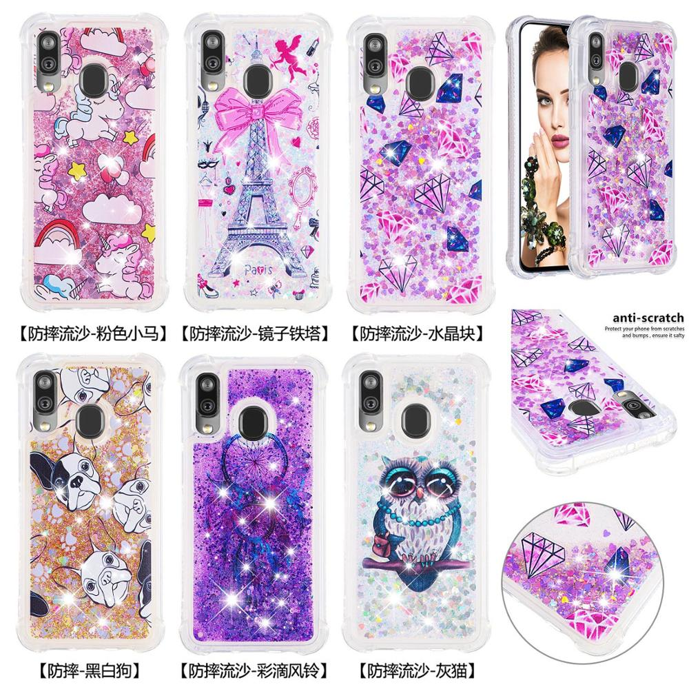 Glitter Bling Phone Cases For Samsung Galaxy A40 Note 10 Pro Note 10 Plus Note 10 A20e A10e Liquid Quicksand Soft TPU Back Cover-in Fitted Cases from Cellphones & Telecommunications