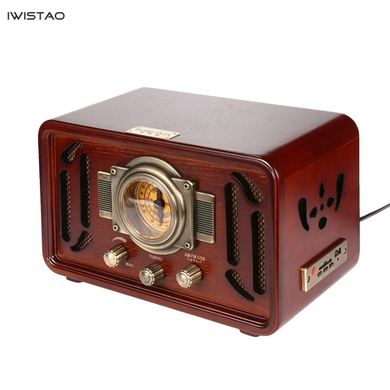 Retro Wooden HIFI <font><b>Radio</b></font> AM/FM 2x5W Desktop Speakers Rotary Tuning Support Bluetooth U Disk SD Card Playing image
