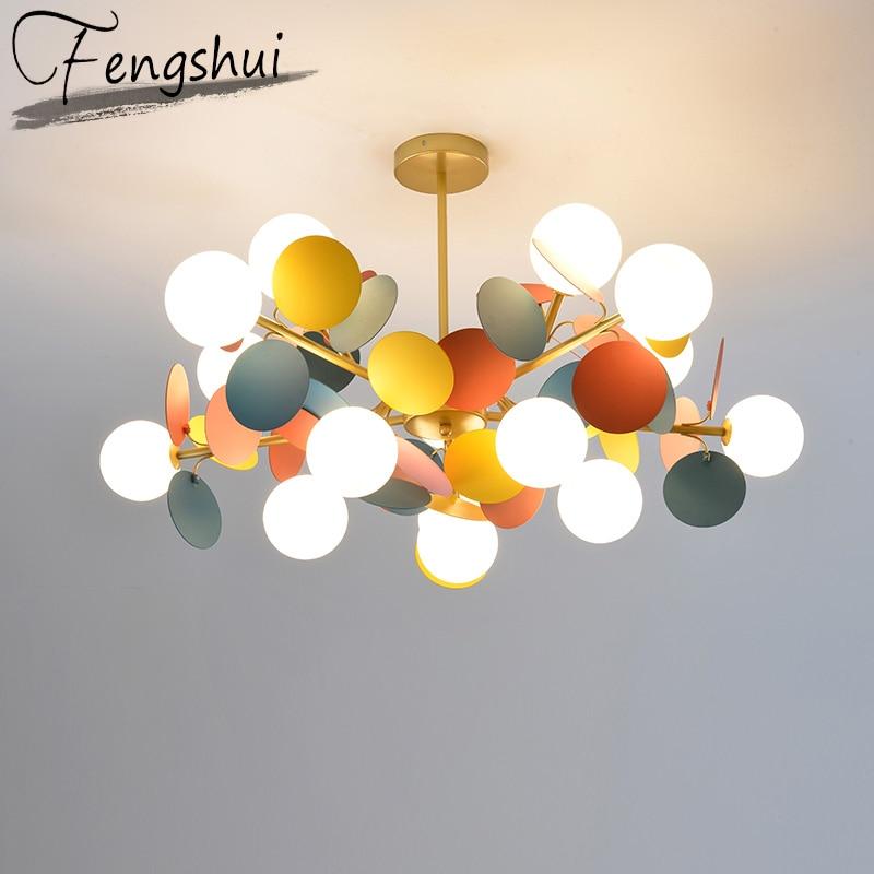 Modern Iron Pendant Lights Lamp LED Pending Lighting Multicolor Living Room Bedroom Dining Room Loft Home Decor Hanging Lamp