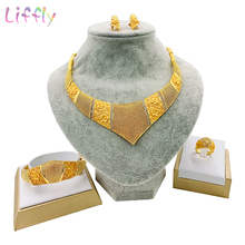 купить Dubai Bold Women Jewelry Sets Exaggerated Style Big Necklace Bracelet Earrings Ring for Womens Wedding Fashion Jewelry Set по цене 1041.45 рублей