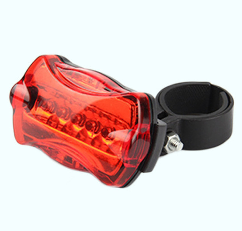 1PC Bicycle Rear Safety 5 Led Light Bike Cycling Tail Rear Warning Flash Light Lamp Red With Mount Bicycle Accessories Wholesale
