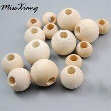 Missxiang 8-50 мм деревянные бусины натуральный круглый для самостоятельного изготовления ювелирных изделий браслет из бисера аксессуары свободный шарик бисер с большим отверстием поставка