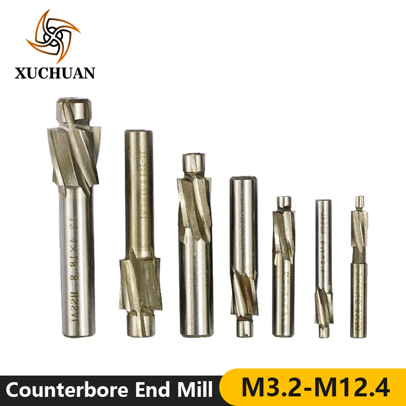 7pcs M3-M12 Counterbore Milling Cutter Straight Shank End Mill High Speed Steel CNC Machine Router Bit