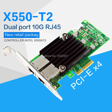 FANMI  PCI E X4 X550 T2 10G Ethernet Server Adapter Dual Port RJ45 Converged Network Adapter X550T2BLK