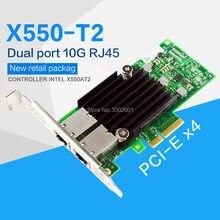 Сетевой адаптер FANMI PCI-E X4, 10G Ethernet-адаптер, двойной порт RJ45, конвергентный сетевой адаптер X550T2BLK