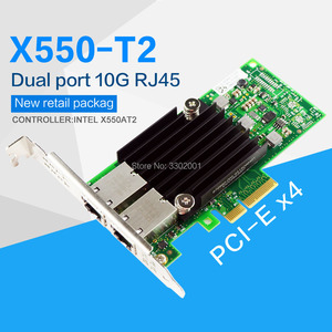 Image 1 - FANMI  PCI E X4 X550 T2 10G Ethernet Server Adapter Dual Port RJ45 Converged Network Adapter X550T2BLK