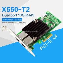 فانمي PCI E X4 X550 T2 10G إيثرنت خادم محول المزدوج ميناء RJ45 المتقاربة محول الشبكة X550T2BLK