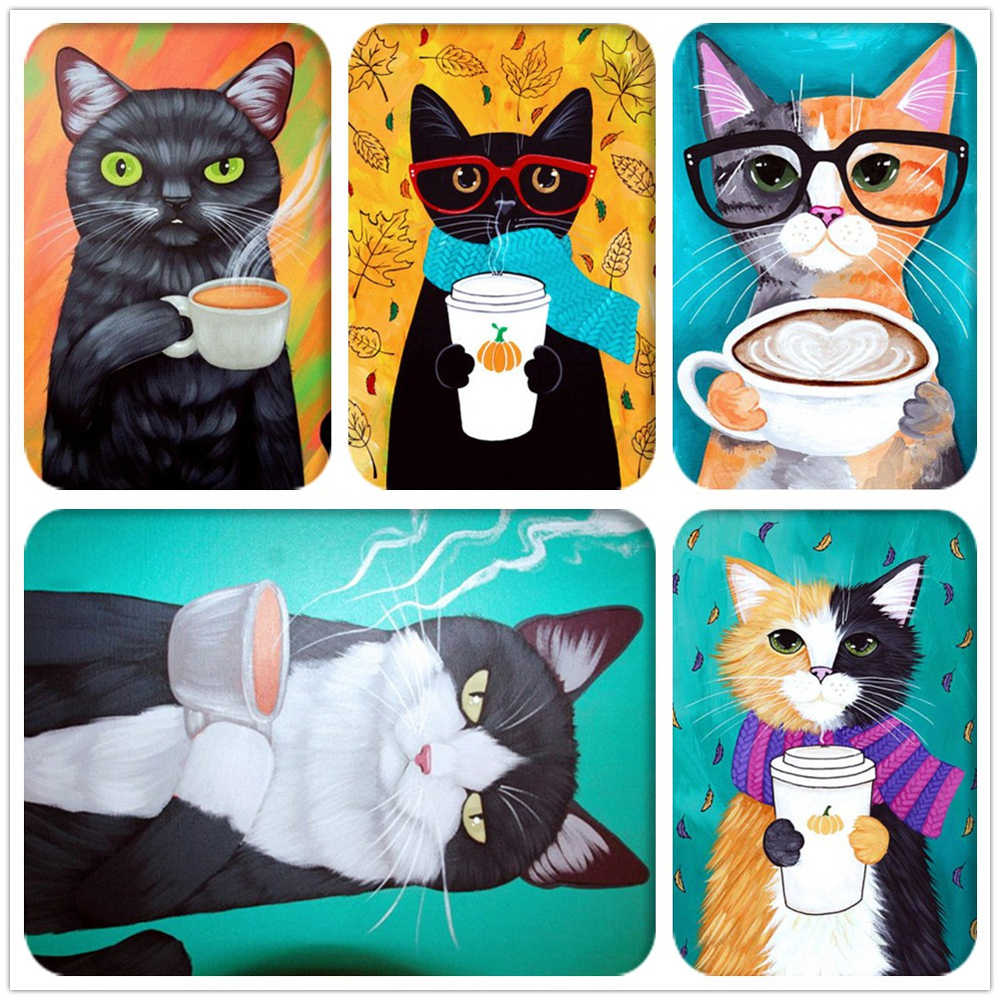 Café gato Broca Completo Quadrado/Rodada Animal Dos Desenhos Animados Diamante 5D Mosaic Needlework Diamante Pintura Diamante do Ponto da Cruz do Bordado