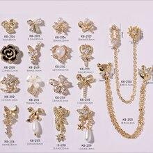 5 шт./лот, Элегантные ювелирные украшения для ногтей 3d из сплава с блестящим циркониевым жемчугом и стразами для украшения ногтей