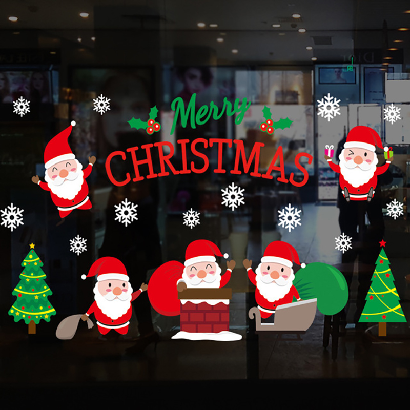 2020 Merry Christmas Window stickers Christmas decorations for home wall Glass Stickers New Year Home Decals Decor natal Noel 4