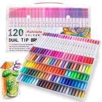 Dual Tip Kunst Marker 60/100/120 Farben Kalligraphie Aquarell Pinsel Pen-Set für Erwachsene Colouring Bücher Kugel Journal