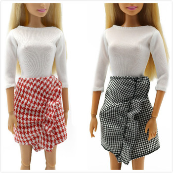 Milan Fashion Lattice Skirt Outfit Set for Barbie 11 Inches  BJD FR SD Doll Clothes Dollhouse Roll Play Accessories nk one set doll fashion hi fi tv theatre set dollhouse furniture decor accessories for barbie doll for monster high doll