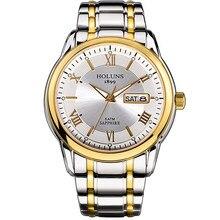 HOLUNS relogio masculino pełne nierdzewne stalowe męskie automatyczne zegarki top marka luksusowe 5ATM wodoodporne Super luminous dropshipping