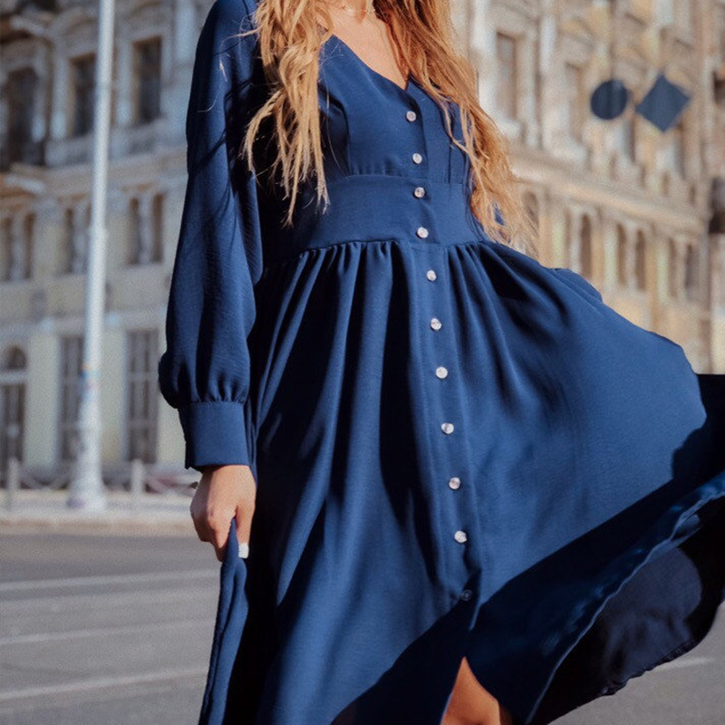 Women Vintage Front Button A-line Party Dress Long Sleeve Sexy V Neck Solid Casual Office Lady Dress 2019 Autumn Fashion Dress