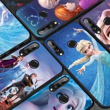 Silicone Cover Beautiful Princess Elsa For Huawei P50 P40 P30 P20 Pro P10 P9 P8 Lite E Plus 2017 2016 5G Black Phone Case