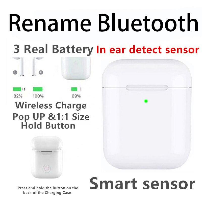 Renommer bluetooth 2 ii génération ecouteurs poubelle de charge cache aimant rebond commande vocale Animation originale connexion casque 1:1 Replica Wireless Earphone QI Wireless Charging