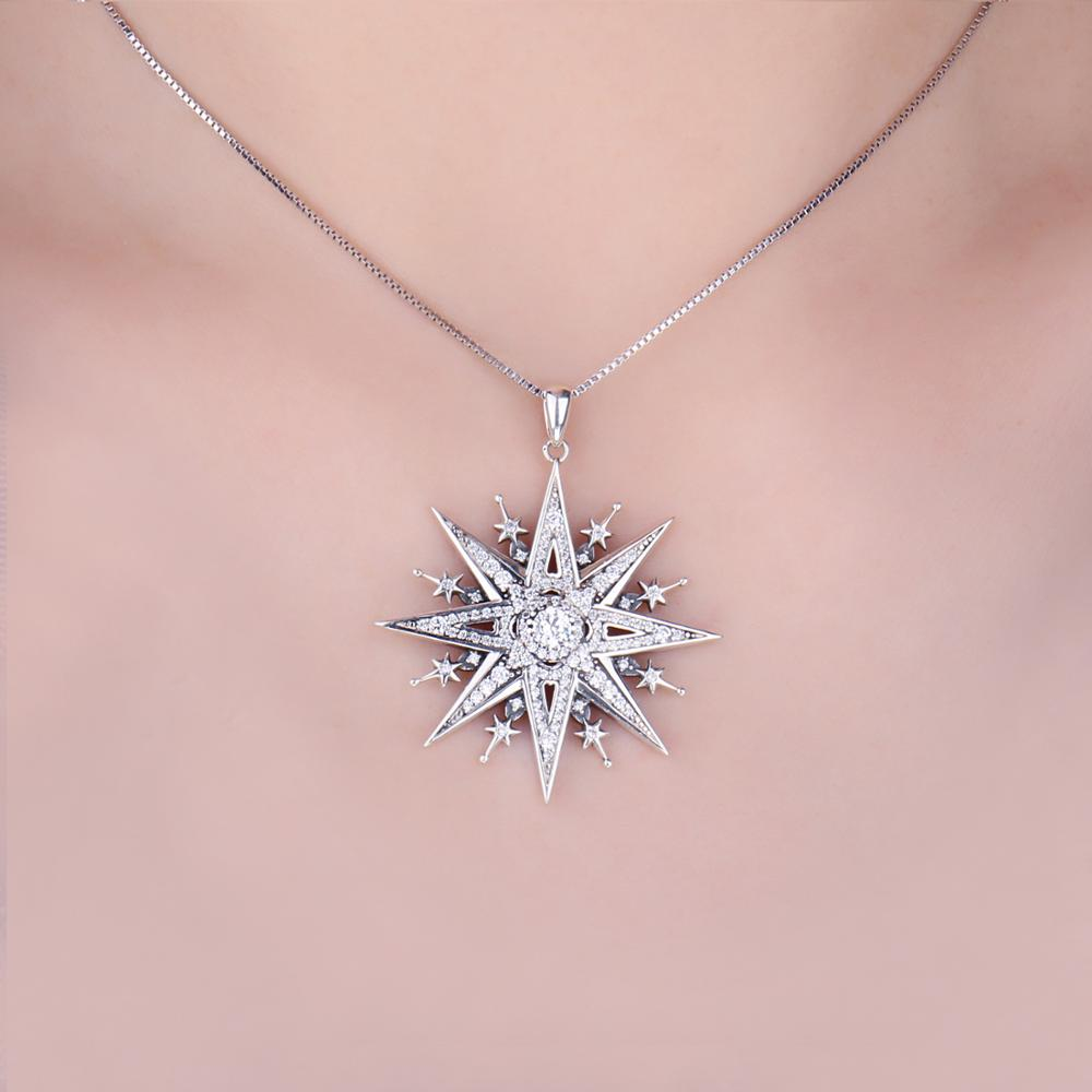 Image 4 - JewelryPalace Vintage Gothic Cubic Zirconia North Star Pendant Necklace Without a Chain 925 Sterling Silver Pendants for WomenNecklaces   -