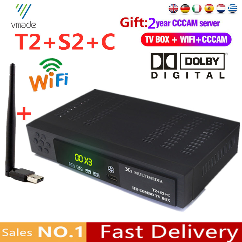 Europe 2 Years CCCAM Service DVB t2 s2 combo DVB C Satellite Receiver TV Box Support Dolby IPTV Cccam Set Top Boxes with WIFI