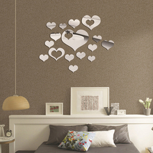 3D Mirror Love Hearts Wall Sticker Decal DIY Wall Stickers for Living Room Modern Style Home Room Art Mural Decor Removable grazing wall sticker home wall decor living room bedroom wall decal removable wall art mural jh206