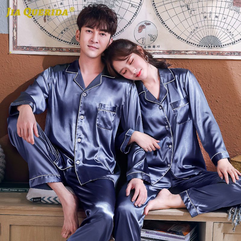 New Blue Men And Women Blue Sleepwar Imitated Silk Long Sleeve Long Pants Fashion Style Turn Down Collar Homesuit Homeclothes