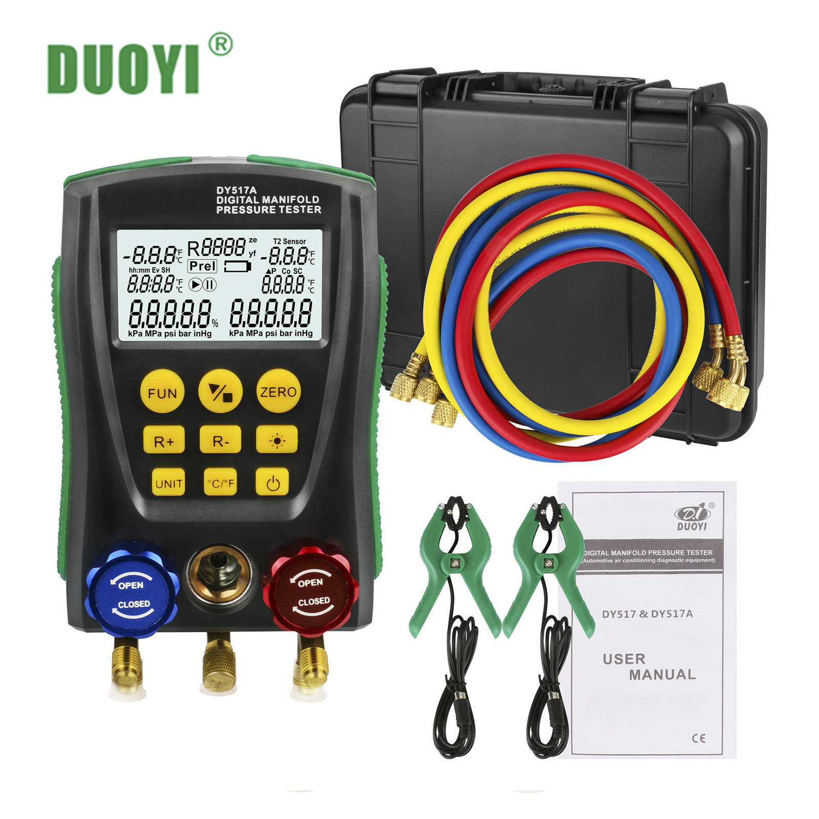DUOYI Temperature-Meter Refrigeration Manifold-Pressure-Gauge Test-Air-Conditioning R410a