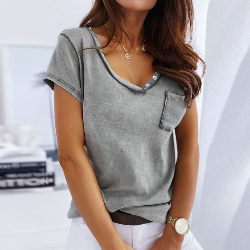 Summer T Shirt Women Casual Loose Tee Shirts V Neck Short Sleeve Pocket Button Gray Khaki Ladies Tshirt 2020 Solid Harajuku Tops