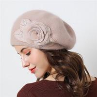 Hat female winter knitting plus velvet thick warm winter beret knitted rabbit hair wild wool cap winter