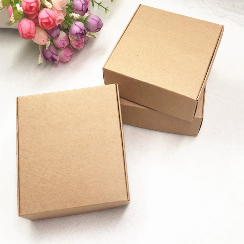 100Pcs Kraft Paper Box Nice Kraft Box Packaging Box Small Size-brown