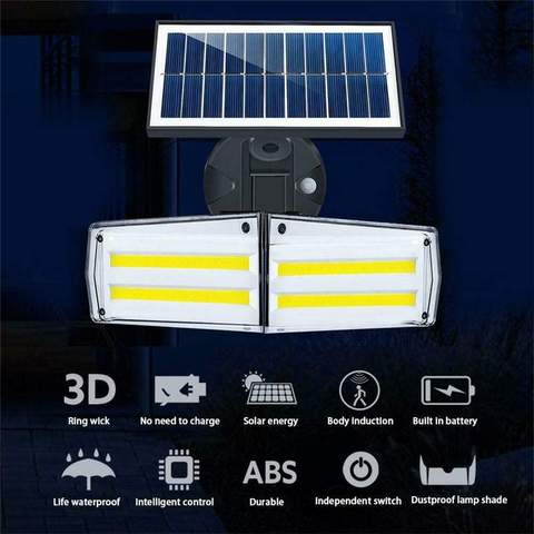 12w solar wall light 12w ajustavel dupla