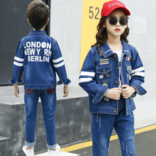 2019 Korean Children Clothing Autumn  Boys Girls Clothes Outfits Kids Letter Carton Printed Denim Coat Single Jacket