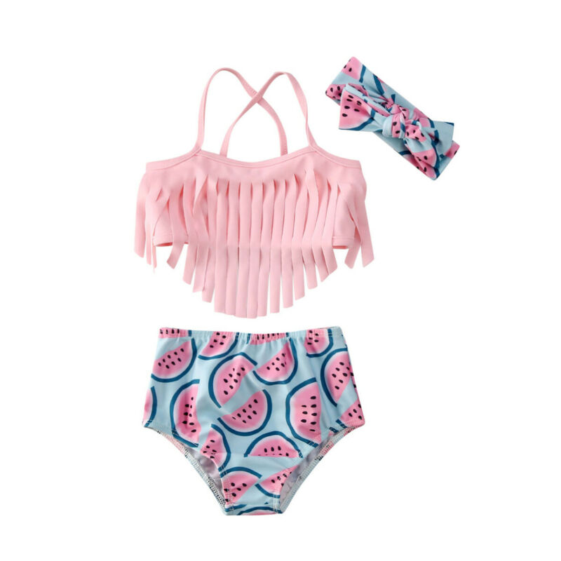 2020 New Baby Girl Watermelon Bow Swimwear Swimsuit Bikini Set 2Pcs Bathing Suit Summer Beach Clothes 0-24M