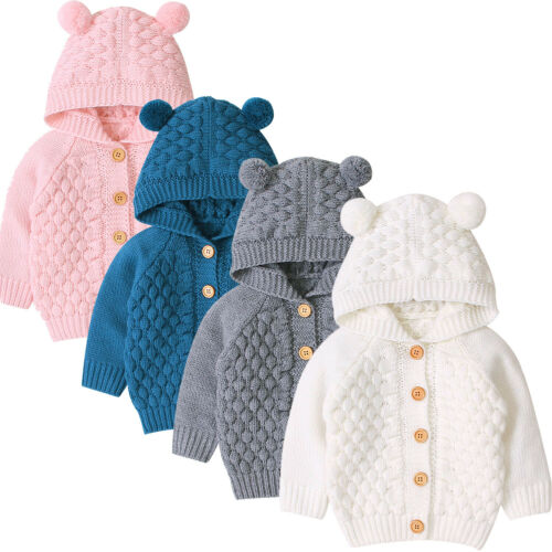 Pudcoco 2019 New 0-24M Winter Infant Baby Girls Boys Warm Coat 3D Ears Hooded Long Sleeve Knit Lovely Coat Outwears 4 Colors