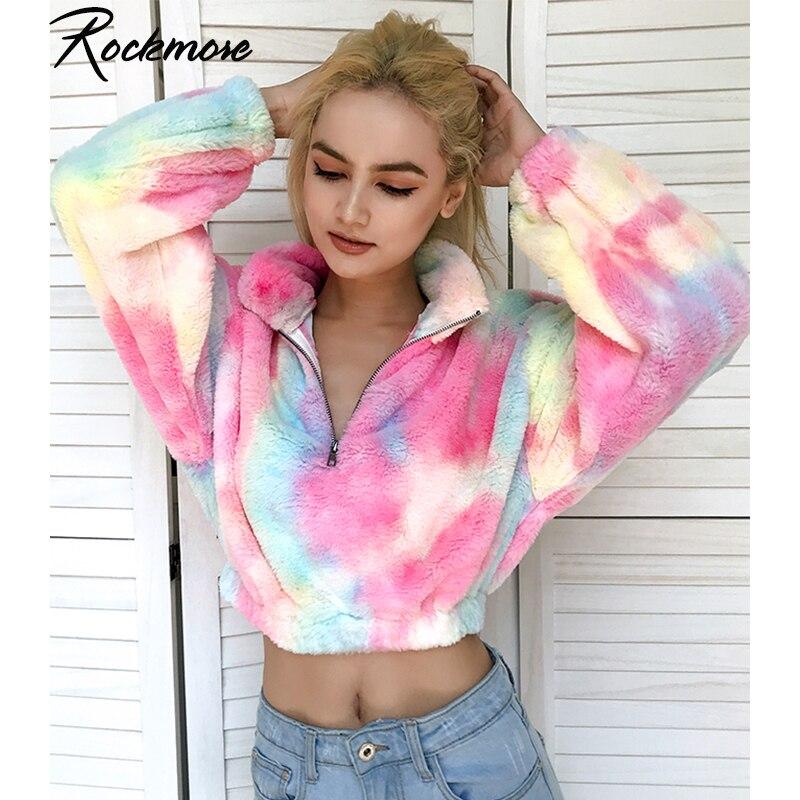 Rockmore Tie Dye Hoodies Women Sweatshirts Plus Size Zipper Turtleneck Pullovers Sweatshirt Korean Cropped Hoodie Femme Autumn