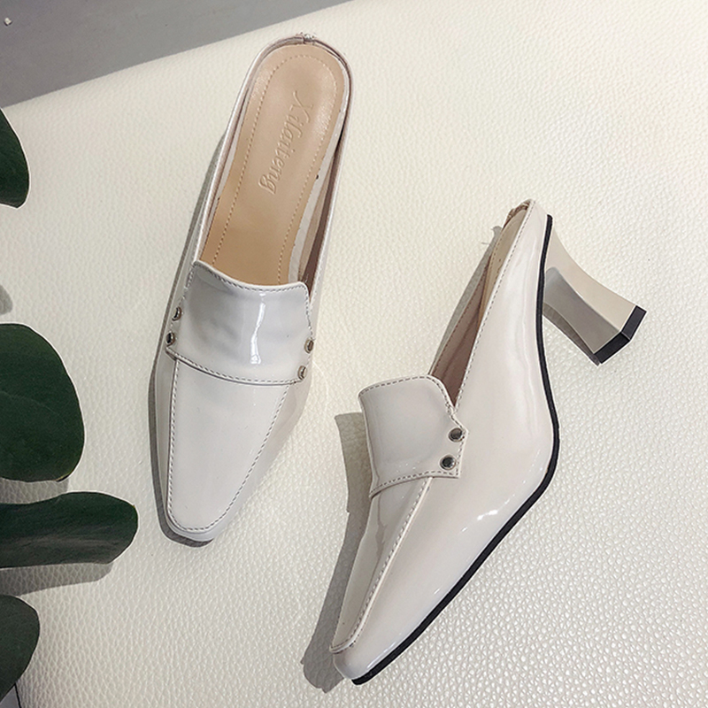 2020 Elegant Leather Mules Shoes Women Sexy Pointed Toe Black Home Outdoor Slippers Summer Fashion Beige Women Heel Slippers