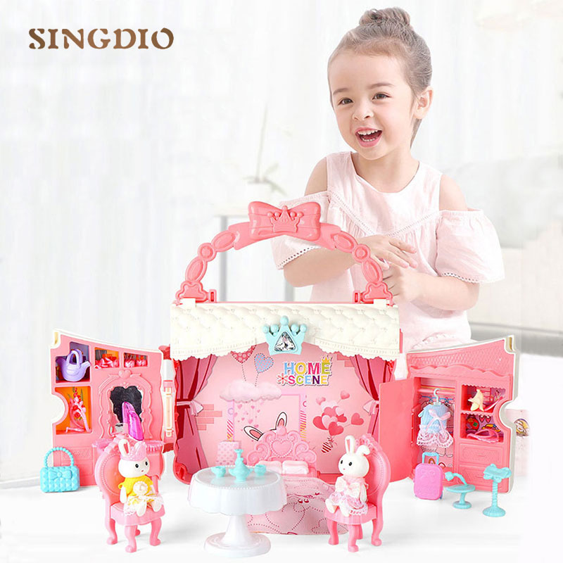 Dream happy family pink doll house furniture plastic cottage home girls dollhouse toy house kids toys for children rabbit