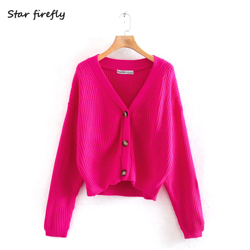 US $18.79 6% OFF|LUNDUNSHIJIA 2020 New Spring Autumn Women's Loose Knitting Sweaters Ladies V Neck Long Sleeve Fashion Rose Red Cardigan Coats| |
